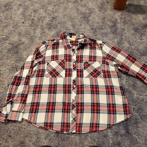 Red white and blue with black plaid shirt